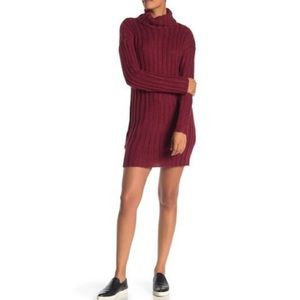 NWT Angie Large Rib Knit Sweater Dress in Wine Red